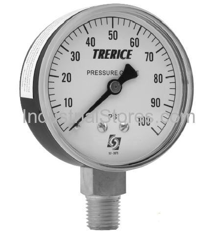 Trerice 800B2502LA110 0/100 psi 2.5 1/4 L Gauge