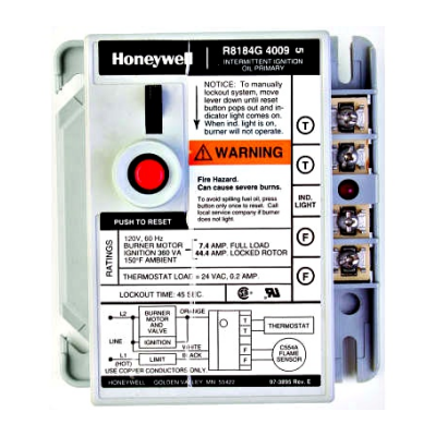 Honeywell R8184G4066 Protectorelay Oil Burner Control with 15 second safety timing