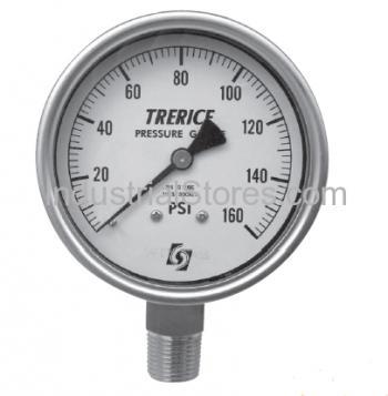 Trerice 700LFB4002LA090 4 Dial 0-30 psi 1/4 Bottom Liquid Fill