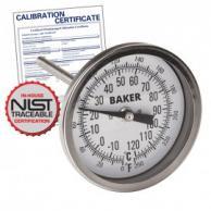Baker T3004-250 Bimetal Thermometer 0 to 250F (-20 to 120C) with NIST Traceable Certificate